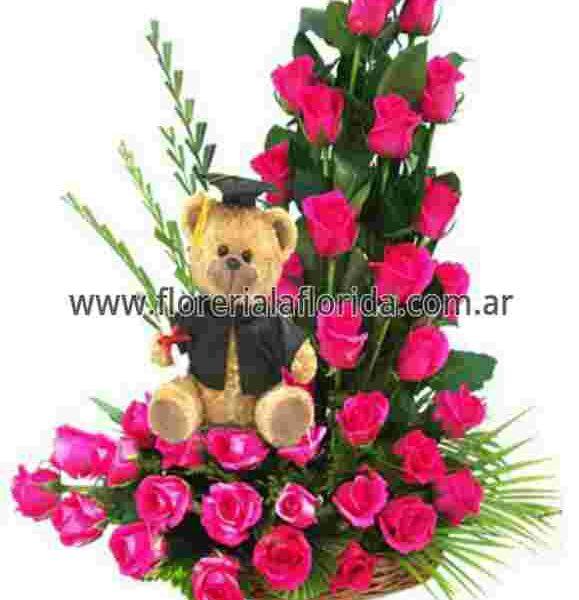 Arreglo Floral De 36 Rosas Rosadas Con Peluche En Cesto De Mimbre